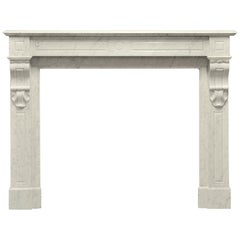 Antique Fireplace in White Marble