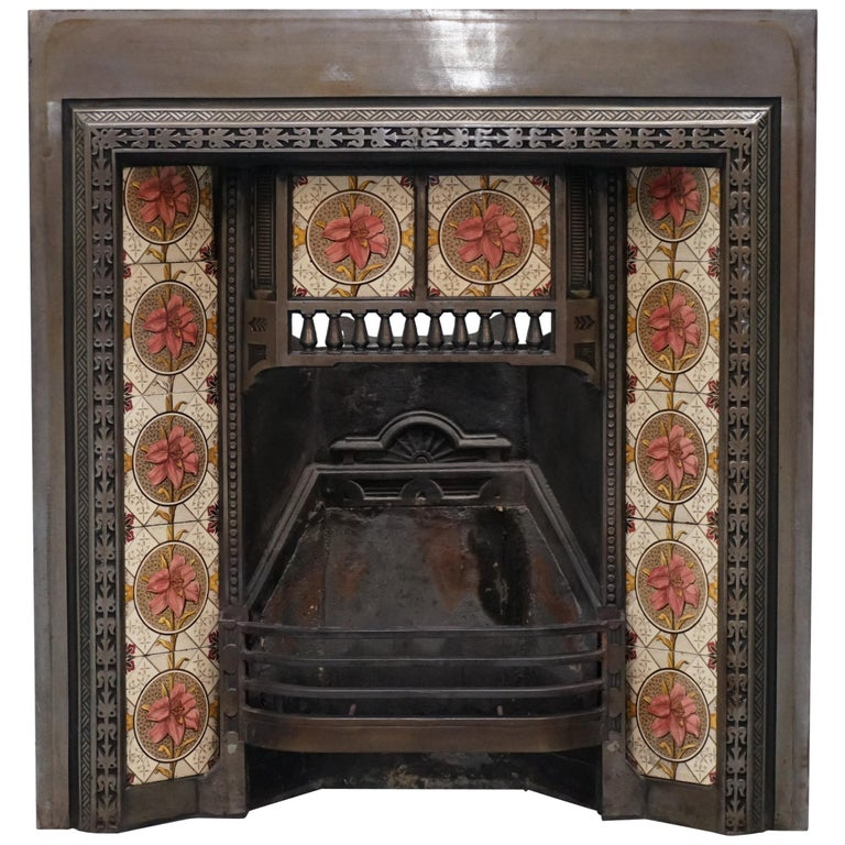 Antique Fireplace Inset Cast Iron With Lovely Vintage Hand Painted