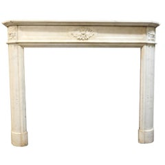 Antique Fireplace Louis XVI White Marble, Carved Flowers Side Moons, 1800 France