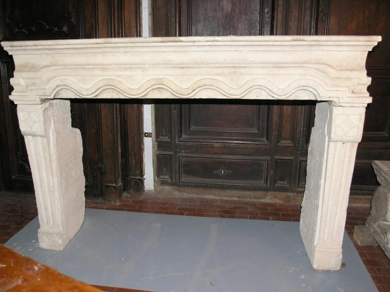 Hand-Carved Antique Fireplace Made of Borgogna's Stone For Sale
