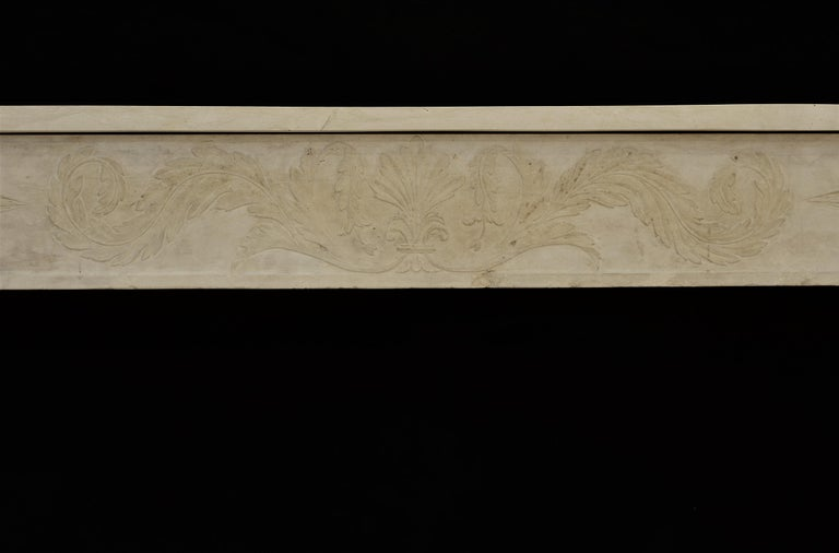 French Antique Fireplace Mantel 19th Century Limestone Louis XVI from France For Sale
