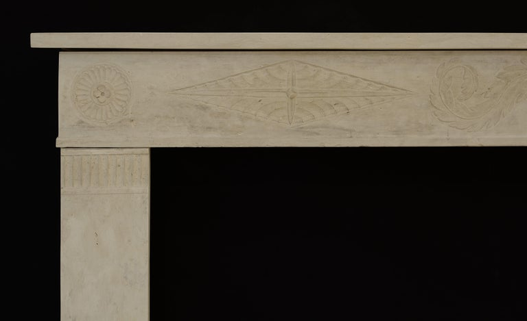 Antique Fireplace Mantel 19th Century Limestone Louis XVI from France In Good Condition For Sale In Haarlem, Noord-Holland