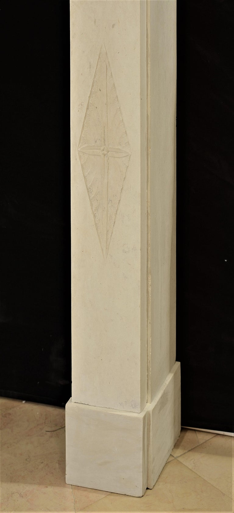 Antique Fireplace Mantel 19th Century Limestone Louis XVI from France For Sale 1