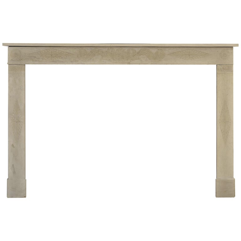 Antique Fireplace Mantel 19th Century Limestone Louis XVI from France For Sale