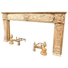Antique Fireplace Mantel in Beige Lacquered and Carved Wood, 1700, Italy