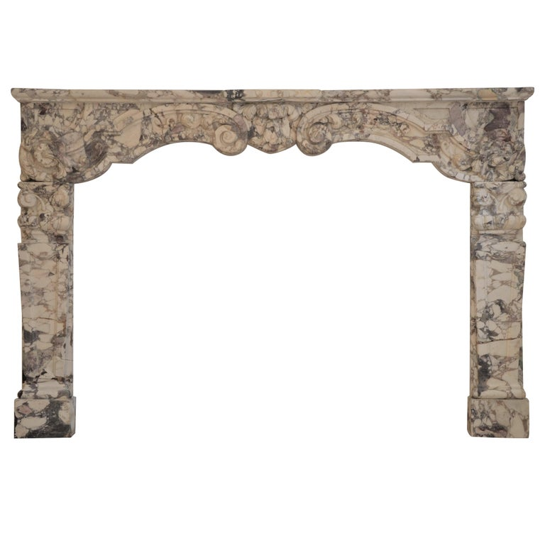 Antique Fireplace Mantel in Breche Violet Marble For Sale