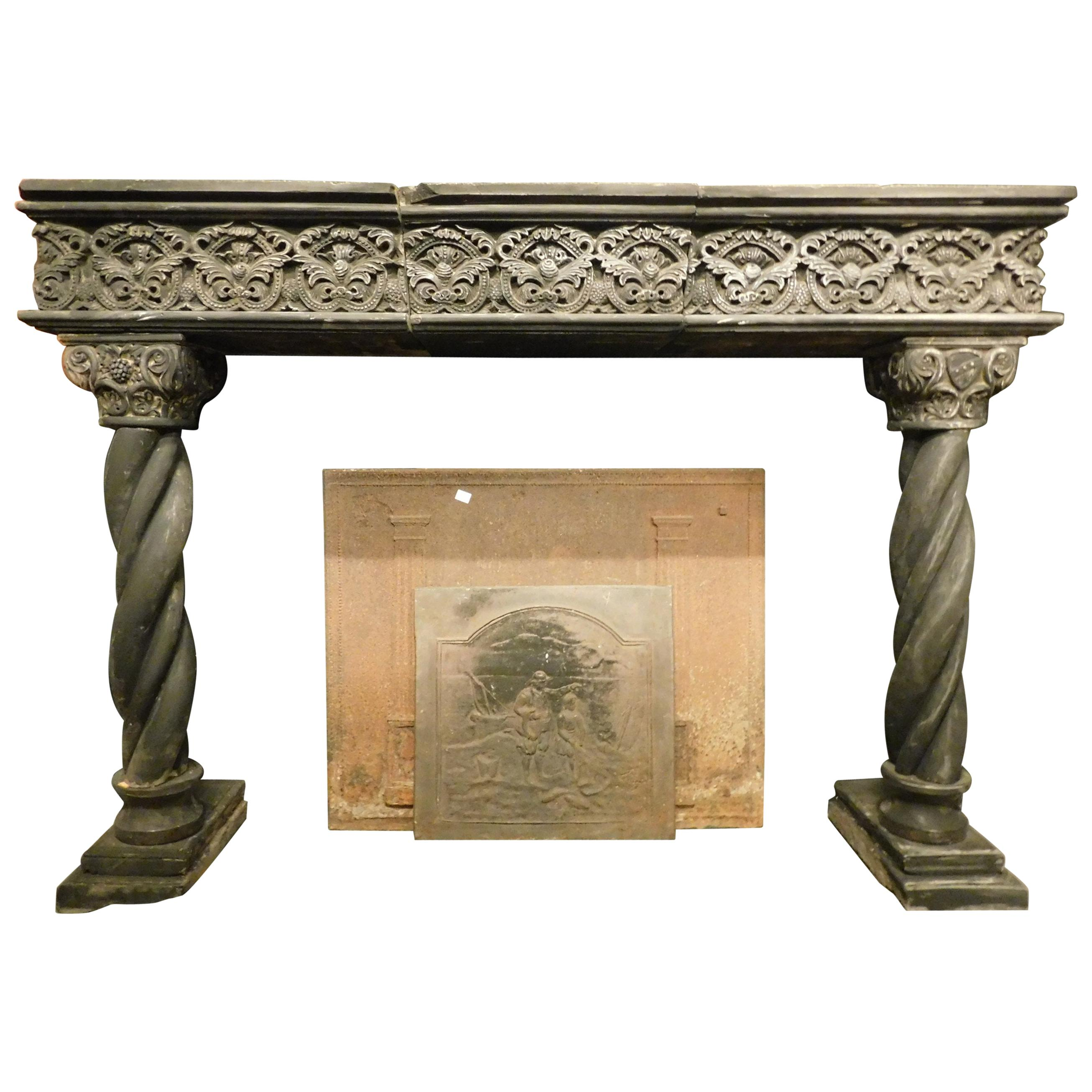 Antique Fireplace Mantel in Dark Slate Stone, Turned Columns, 16th Century Italy