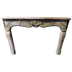 Antique Fireplace Mantel in Gray Borgogna's Stone, 1700, France