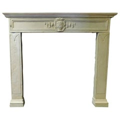 Antique Fireplace Mantel in Gray Sandstone, Noble Coat of Arms, ep.1500 Florence