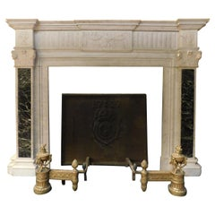 Antique Fireplace Mantel in White Carrara Marble,Verde Alpi Marble Inlays, 1700