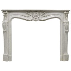 Antique Fireplace Mantel in White Marble