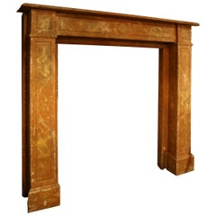 Antique Fireplace Mantel Made of Wood in Original Marbled Painting, circa 1850