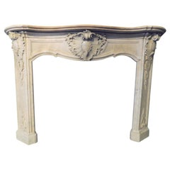 Antique Fireplace Mantel Richly Carved Grey Marble, Luxury Flora, 1800, Italy