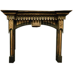 Antique Fireplace Mantle Black and Gold Lacquered Wood, Neo-Gothic, 1800, Italy