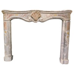 Antique Fireplace Mantle in Bardiglio Marble, Central Shell, 19th Century, Italy