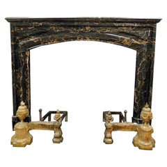 Antique Fireplace Mantle in Black Portoro Veins Marble, 19th Century, France