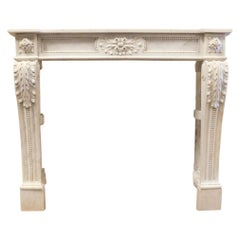 Antique Fireplace Mantle in White Carrara Marble, Carved 18th Century France
