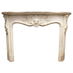 Antique Fireplace Mantel in White Carrara Marble, France, 1800