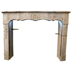 Antique Fireplace Mantle White Carrara Marble, Sculpted Shell,18th Century Italy
