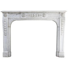 Antique Fireplace of Carrara Marble from the 19th Century