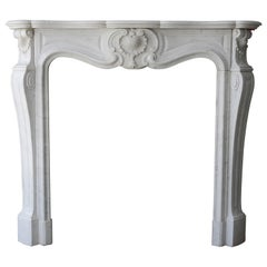 Antique Fireplace of Carrara Marble in Style of Louis XV from France