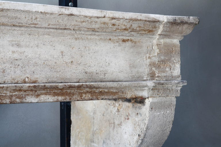 19th Century Antique Fireplace of French Limestone, 18th Century, Louis XIII For Sale