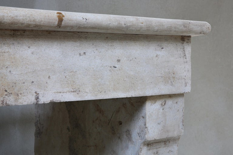 Other Antique Fireplace of French Limestone, 19th Century, Campagnarde Style For Sale