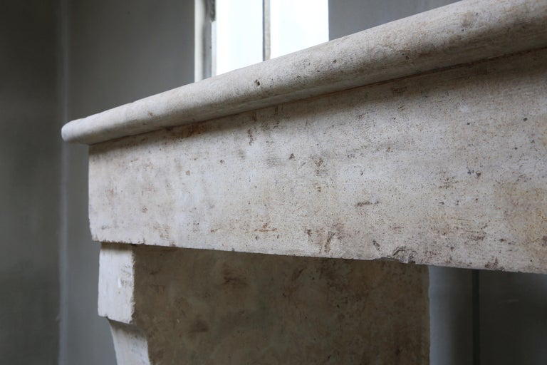 Antique Fireplace of French Limestone, 19th Century, Campagnarde Style For Sale 1
