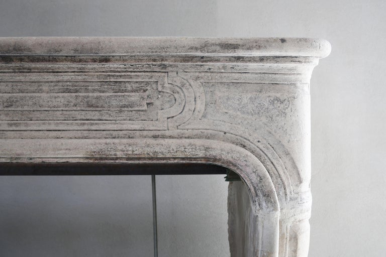 Antique Fireplace of French Limestone, 19th Century, Louis XIV In Good Condition For Sale In Made, NL