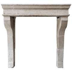 Antique Fireplace of French Limestone, Campagnarde Style from Bourgogne
