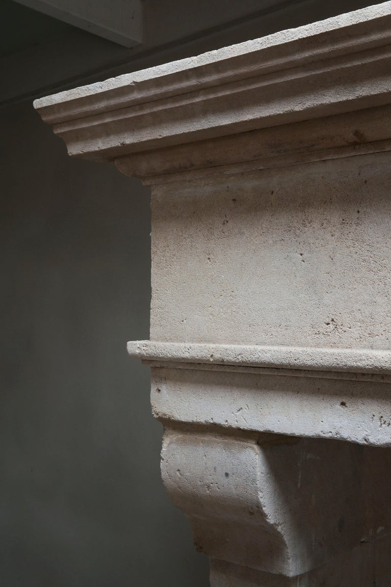 Antique Fireplace of French Limestone in Style of Louis XIII, 18th Century For Sale 6