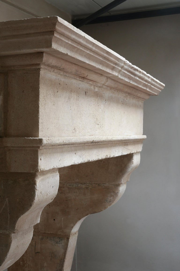 Antique Fireplace of French Limestone in Style of Louis XIII, 18th Century For Sale 7