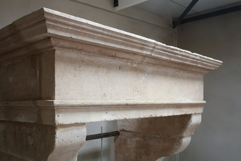 Antique Fireplace of French Limestone in Style of Louis XIII, 18th Century For Sale 8