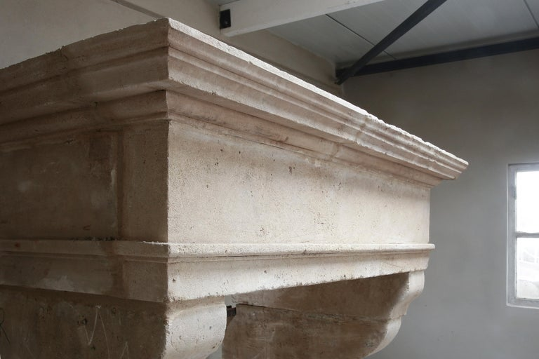 Other Antique Fireplace of French Limestone in Style of Louis XIII, 18th Century For Sale