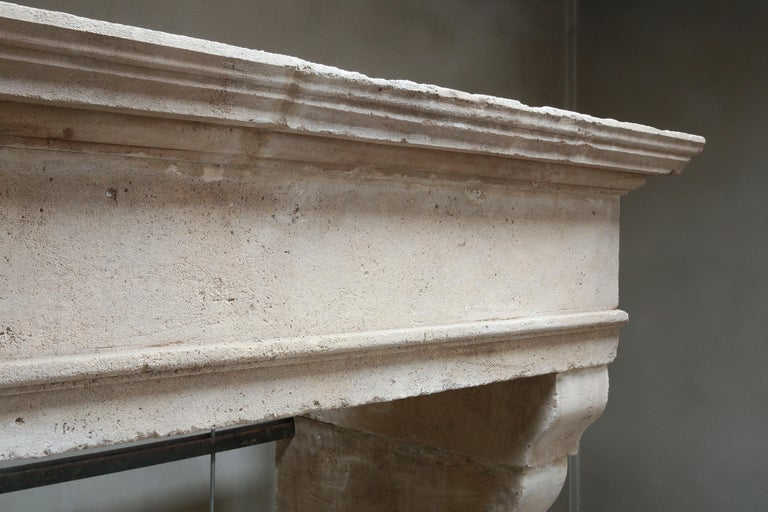 Antique Fireplace of French Limestone in Style of Louis XIII, 18th Century In Good Condition For Sale In Made, NL
