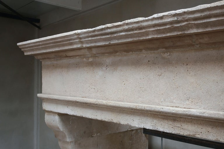 18th Century and Earlier Antique Fireplace of French Limestone in Style of Louis XIII, 18th Century For Sale