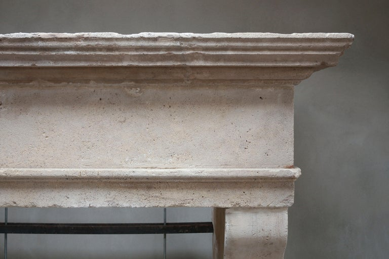 Antique Fireplace of French Limestone in Style of Louis XIII, 18th Century For Sale 1