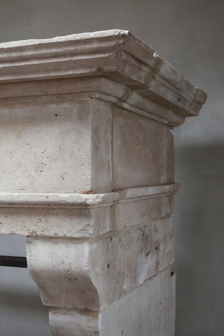 Antique Fireplace of French Limestone in Style of Louis XIII, 18th Century For Sale 2