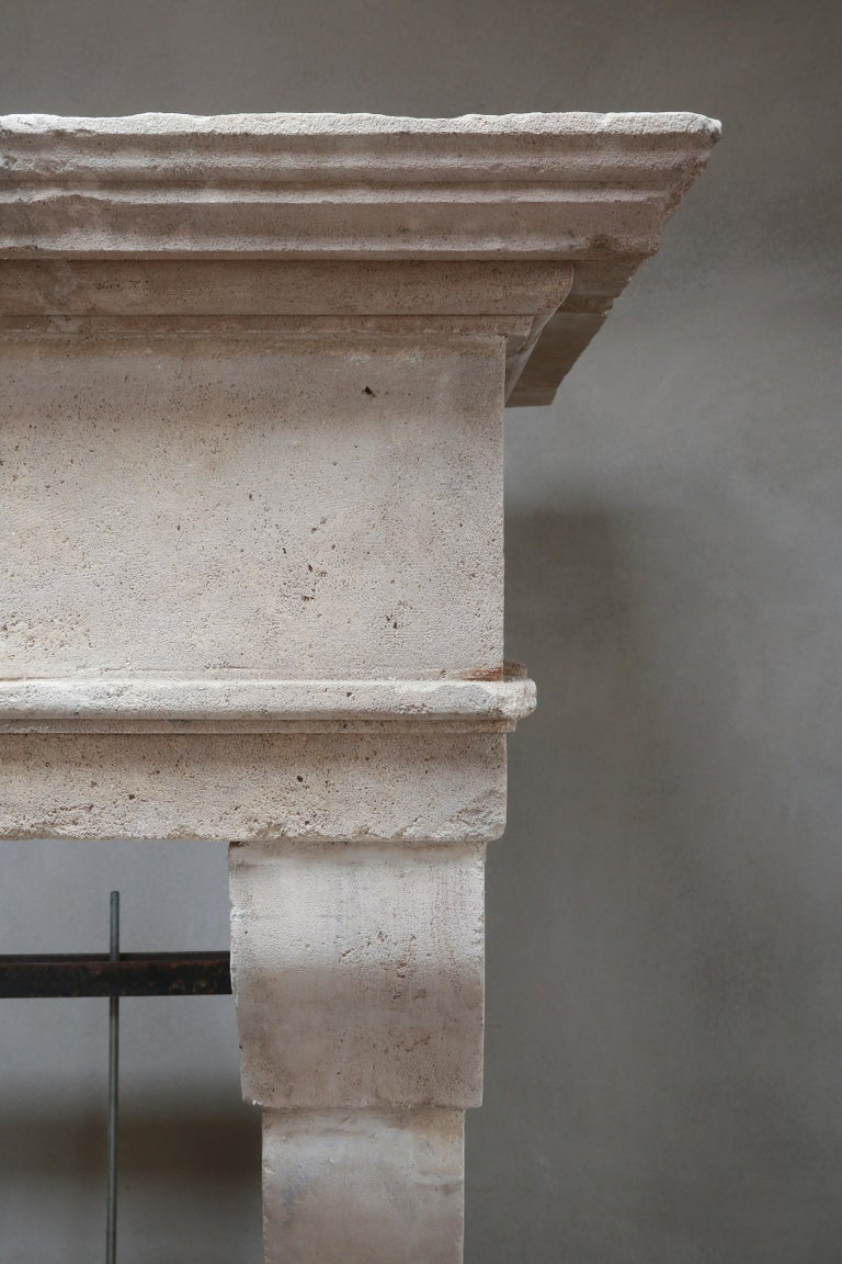 Antique Fireplace of French Limestone in Style of Louis XIII, 18th Century For Sale 3
