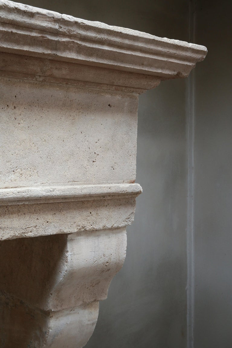 Antique Fireplace of French Limestone in Style of Louis XIII, 18th Century For Sale 4
