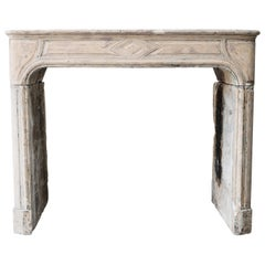 Antique Fireplace of French Limestone in Style of Louis XIV, 19th Century