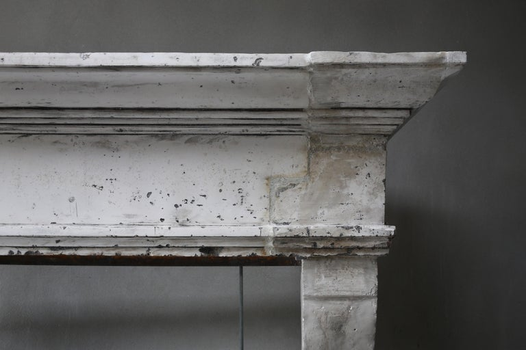 Other Antique Fireplace of French Limestone, Louis XIII Style, 19th Century For Sale