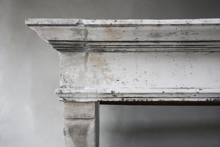 Antique Fireplace of French Limestone, Louis XIII Style, 19th Century In Good Condition For Sale In Made, NL