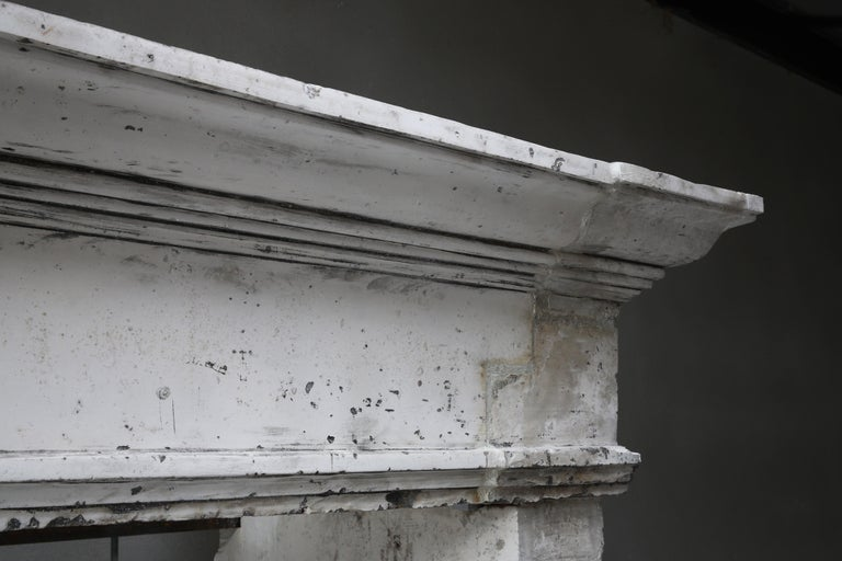 Antique Fireplace of French Limestone, Louis XIII Style, 19th Century For Sale 1