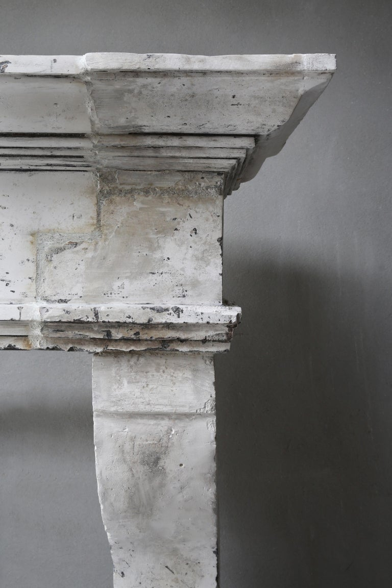 Antique Fireplace of French Limestone, Louis XIII Style, 19th Century For Sale 5