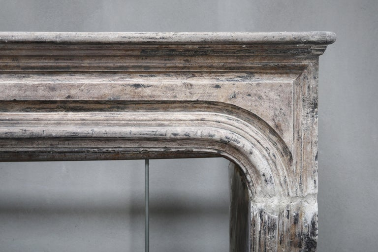 Antique Fireplace of French Limestone, Louis XIV Style, 19th Century In Good Condition For Sale In Made, NL