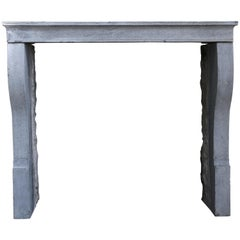 Antique Fireplace of Gray Marble Stone