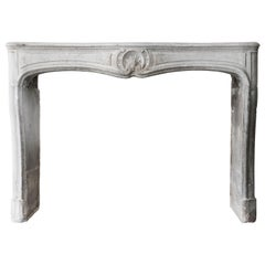Antique Fireplace of Grey Marble Stone, 19th Century, Louis XV