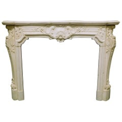 Antique Fireplace White Statuary Marble of Carrara, Richly Carved, 1800, Italy