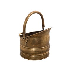 Antique Fireside Bucket, English, Brass, Coal, Log, Scuttle, Victorian